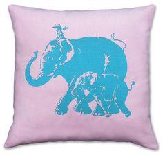 Elephant Safari hand screenprinted cushion