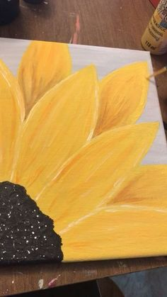 Diy Cards Discover Sunflower painting sunflower painting on canvas yellow grey art Sunflower Canvas Paintings, Simple Canvas Paintings, Easy Canvas Art, Small Canvas Art, Easy Canvas Painting, Mini Canvas Art, Diy Canvas, Pallet Painting, Canvas Crafts