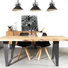 Table à manger bois massif tronc d'arbre, pieds métal - Made in Meubles