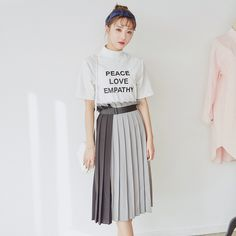 Korean Fashion - Long color stitching skirt