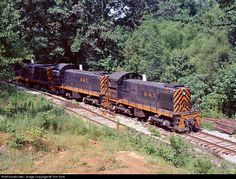 Kentucky & Tennessee Railroad Alco S2 at Stearns, Kentucky - Three Kentucky & Tennessee (former DRGW) S2s bring a train into Stearns, KY in this summer 1973 view.