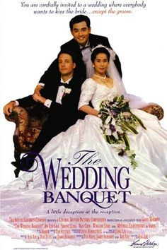 The Wedding Banquet (Ang Lee, 1993), an American-Taiwanese co-production about a gay Taiwanese immigrant in the US who marries a Chinese woman so she'll obtain a Green card. Then his family arrive. Find this at 791.437513 WED