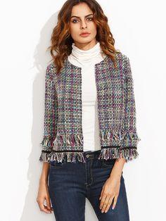 dd67ea594c Shop Multicolor Tassel Hem Three Quarter Sleeve Blazer online. SheIn offers  Multicolor Tassel Hem Three