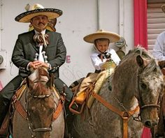 Charro father and son on horses