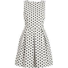 Almari Spot Dress, Black/White (130 BRL) ❤ liked on Polyvore featuring dresses, vestidos, short dresses, robes, flared sleeve dress, short flare dress, short maxi dress, black and white dresses and short sleeve dress