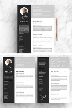 This 5 page resume will show of all your qualities. A good looking resume design to get you the job. This black and white design is easy to fill with your own details If you like this design. Check others on my CV template board :) Thanks for sharing! Resume Design Template, Resume Template Free, Templates Free, Photographer Resume, Web Design, Graphic Design, Cv Curriculum, Cv Inspiration, Resume Tips