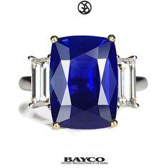 'The Velvet Blue' is a spectacular 10ct Cushion cut Kashmir Sapphire set between baguette diamonds.