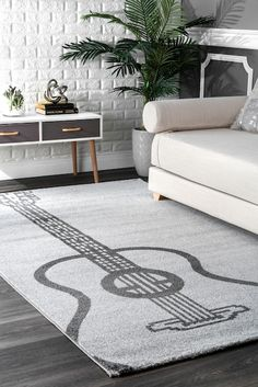 Rugs USA Gray Romance Guitar rug - Contemporary Rectangle x Rug Hooking Designs, Rug Hooking Patterns, Living Room Rug Placement, Usa Living, Rectangle Area, Rugs Usa, Contemporary Rugs, Rugs In Living Room, Room Rugs