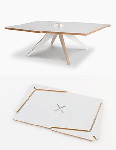 Vic is a flat-pack coffee table made from a single plywood sheet. Its two legs slot easilyinto the center without the need of any tools or glue. Design by Chilean studio Elemento Diseño for Quattr…