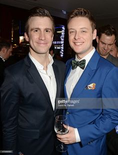 Gavin Creel (L), winner of Best Actor in a Musical, and Stephen Ashfield, winner of Best Supporting Actor in a Musical, attend the WhatsOnStage Awards 2014 after party at The Radisson Edwardian Hotel, Heathrow on February 23, 2014 in London, England.
