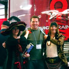 """Some of the pirate crew from the Standard Plumbing Supply's Annual Contractor Event are """"cutting"""" a deal with Jim. The show, held near Salt Lake City, was a huge success! The Quick Drain USA showcase trailer was manned by VP of Residential Sales, Jim Van Landingham and our local Rep, Mark Muhonen of Vista Sales."""