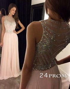 Light Pink Chiffon Sequin Long Prom Dresses, Formal Dresse – 24prom #prom #promdress #evening #formal