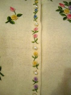 Vintage White Angora and Lambs Wool Embroidered Cardigan Sweater, Steven Chu, Hong Kong, ca Embroidery On Kurtis, Hand Embroidery Dress, Kurti Embroidery Design, Hand Embroidery Videos, Flower Embroidery Designs, Simple Embroidery, Hand Embroidery Stitches, Embroidery Fashion, Ribbon Embroidery