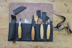 This is a lovely leather tool roll for Spoon Carvers knives to keep them safe and protected. It is approximately 15 inches wide and 13 inches