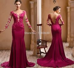 Find More Evening Dresses Information about Noble 2015 Cheap Red Chiffon Vestido de Noite Longo Evening Dress O Neck Long Sleeve Applique Sweep Train Women Formal Prom Gown,High Quality Evening Dresses from beautiful dream house on Aliexpress.com