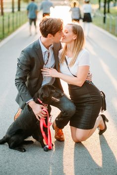 Best accessory for an engagement photo shoot? Your dog!   Photograph by Carly Arnwine
