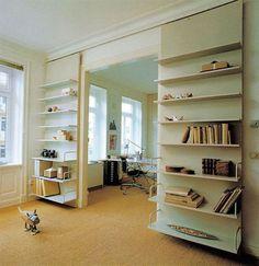 dual purpose sliding door-shelves seria perfecte per casa! Bookshelf Door, Door Shelves, Shelving, Wood Bookshelves, Sliding Door Design, Sliding Doors, Sliding Wall, Barn Doors, Room Divider Doors