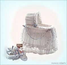 1:12th scale miniature dressed Edwardian bassinet and filled nursery basket by Monica Roberts