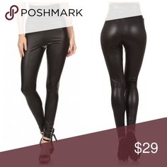 PREORDER High waisted faux leather leggings! Perfect amount of stretch and excellent recovery in these high waisted black faux leather leggings with 8% Spandex in sizes S-M-L Pants Leggings