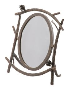 Stone County Ironworks 904-152 Pine Table Mirror (natural bark)