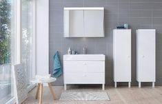 A Duravit Brioso semi-tall cabinet and vanity unit in White matt with tone-in-tone handles. Cozy Furniture, Farmhouse Furniture, Bathroom Furniture, Furniture Stores, Bathroom Interior, Luxury Furniture, Furniture Ideas, Minimalist Bathroom Design, Modern Bathroom Design