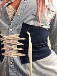 Blue Denim Corset Belt by ArchedLines on Etsy #corsetbelt #denimcorsetbelt