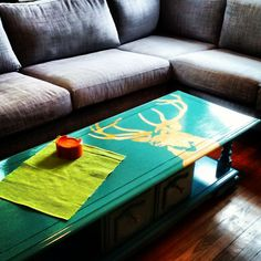 Upcycle your own stenciled coffee table on the cheap.