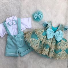 Matching brother and sister set 💙 . Boy Girl Twin Outfits, Lila Outfits, Twin Baby Clothes, Newborn Girl Outfits, Matching Outfits, First Birthday Dresses, Baby Girl Party Dresses, Dresses Kids Girl, Baby Dress Design
