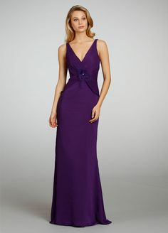 A-line Draped V-neck and V-back Bridesmaid Dress