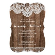 Elegant Rustic Country Wood & Lace Birthday 5x7 Paper Invitation Card