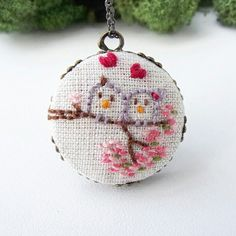 Spring Love Birds Necklace  Sweet mini embroidery, just 1 inch pendant