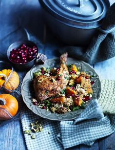 Bright pomegranate seeds transform this spiced chicken and butternut couscous into a colourful comfort dish.   http://www.sainsburysmagazine.co.uk/recipes/mains/chicken-and-game-2/item/spiced-chicken-butternut-couscous