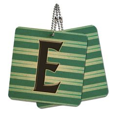 Letter E Initial Black Teal Stripes Wood MDF 4' x 4' Mini Signs Gift Tags ** Continue to the product at the image link.