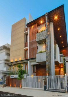 Athulyam - Residence Design Juxtaposed In A Material Palette Of Rustic And Luxury | Design Boulevard - The Architects Diary Duplex House Design, Modern House Design, Contemporary Interior Design, Interior Design Living Room, Exterior Design, Interior And Exterior, Modern House Facades, False Ceiling Design, Facade House