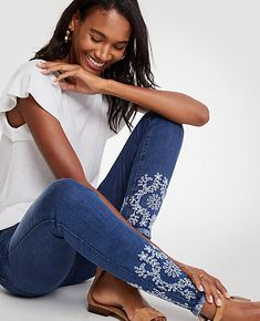 Shop Ann Taylor for effortless style and everyday elegance. Our Modern All Day Skinny Eyelet Jeans is the perfect piece to add to your closet.
