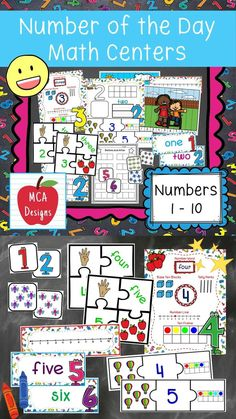 My Number of the Day Math Centers focus on numbers 1 thru 10 and feature various activities to help your students grasp a better understanding of number concepts. Number of the Day Math Centers are a great addition to math lessons and number talks. Each center is accented with bright colors and fun graphics! #teacherspayteachers #tpt Classroom Newsletter, New Classroom, Classroom Themes, Classroom Organization, Math Games, Math Activities, Learning Games, Cute Classroom Decorations, Nonsense Words