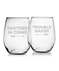 Look at this #zulilyfind! 'Partner in Crime' & 'Trouble Maker' Stemless Wine Glass - Set of Two #zulilyfinds