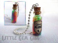 SALE Rainbow Unicorn Mane Glass Bottle Necklace Magical