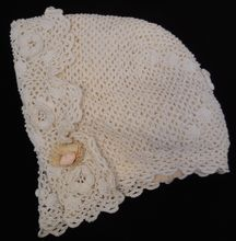 Silk lined crocheted bonnet