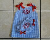Monogrammed Girls Baby Dress with matching Bloomers Blue Gingham and red baby shower gift, beach outfit, 4th of july