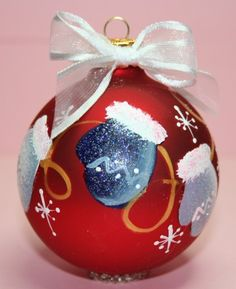 Hand+Painted+Ornament+-+Mittens+-+Can+BEE+Personalized+-+MIT402