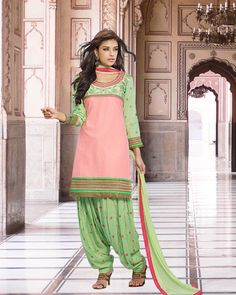 Patiala Suit In Peach And Red Color Combination D0261