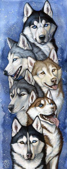 Siberian Huskies again Love those dogs ^_____^ ________________________________________________ Medium: watercolor+acrylic on watercolor paper, 40x16 cm