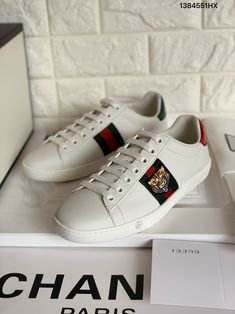 dd6fe65a2c5 Gucci ace sneakers tiger white leather shoes top