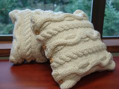 Set of Chunky Celtic Inspired Cream Color Cable by BeehiveCreation, $100.00