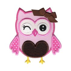 Pink Owl IronOn Applique Patch  Kids / Baby by PatchMommy on Etsy, $5.49