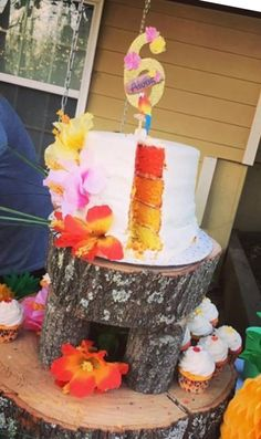 Luau birthday cake
