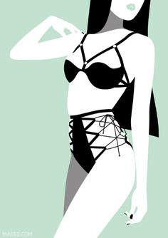 maisdue:Set of illustration inspired by the lingerie designed by...