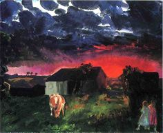George Bellows Red Sun painting for sale - George Bellows Red Sun is handmade art reproduction; You can shop George Bellows Red Sun painting on canvas or frame. American Realism, American Artists, Sun Painting, Painting & Drawing, Rhode Island, Abstract Landscape, Landscape Paintings, Landscapes, Combat Boxe