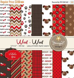 50% OFF Dog Digital papers Pet Red and Brown Puppy Dog